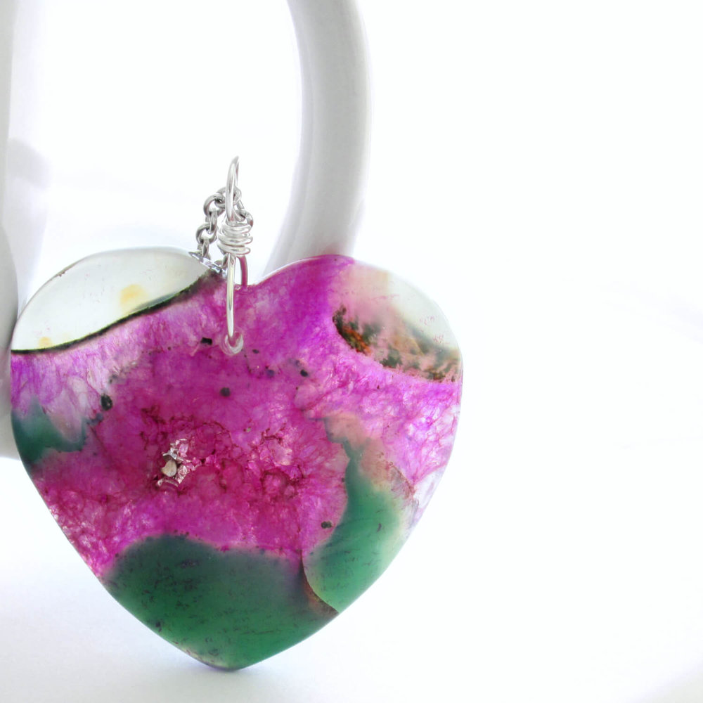Heart Shaped Agate Pendant; Green & Magenta, Druzy Geode Centre
