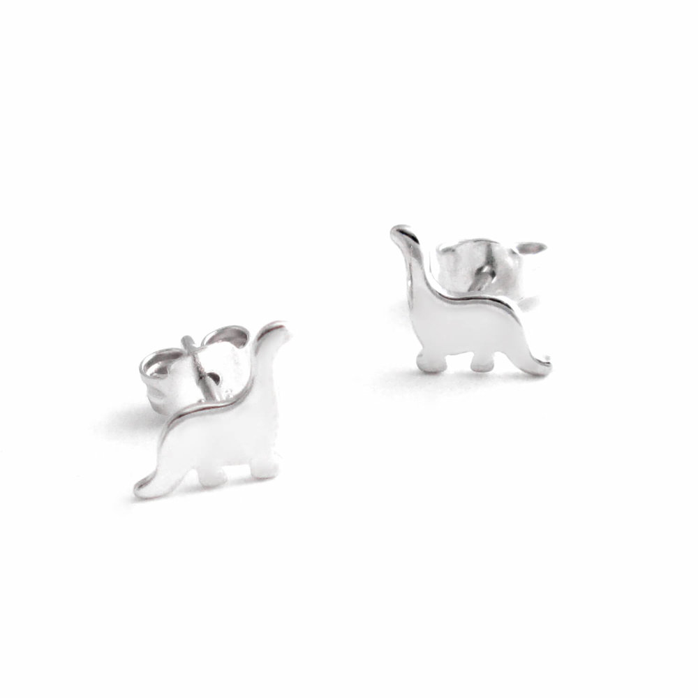 Small Brontosaurus Earrings, Silver Studs