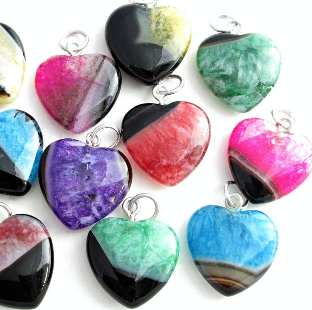 Agate Stone Jewelry, Colorful Semi-Precious Gemstone Pendants ...
