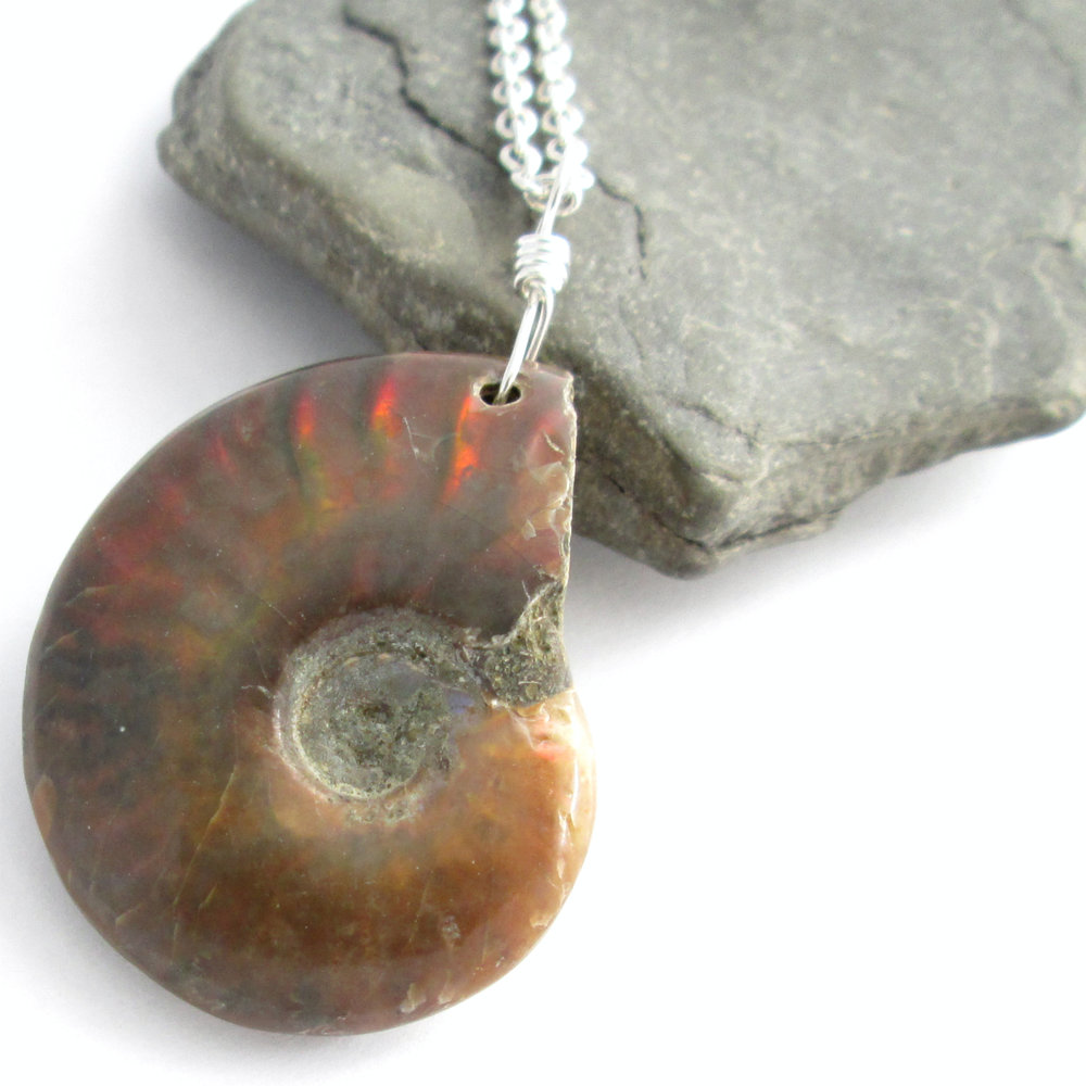 Ammonite Pendant, Opalized