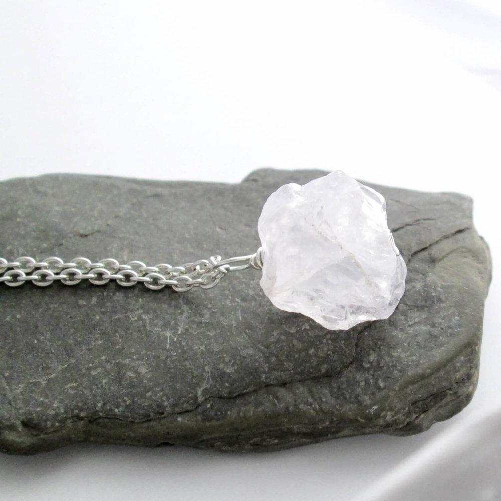 Raw Quartz Necklace, Rock Crystal