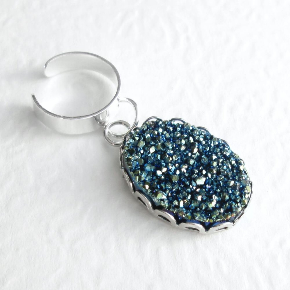Blue Druzy Ear Cuff Metallic Cartilage Earring