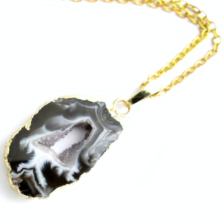 Black Geode Druzy Genuine Geode Druzy Gold Plated Pendant Connectors Single Bail Geode Druzy Components 5 pcs DIY Pendant Connectors
