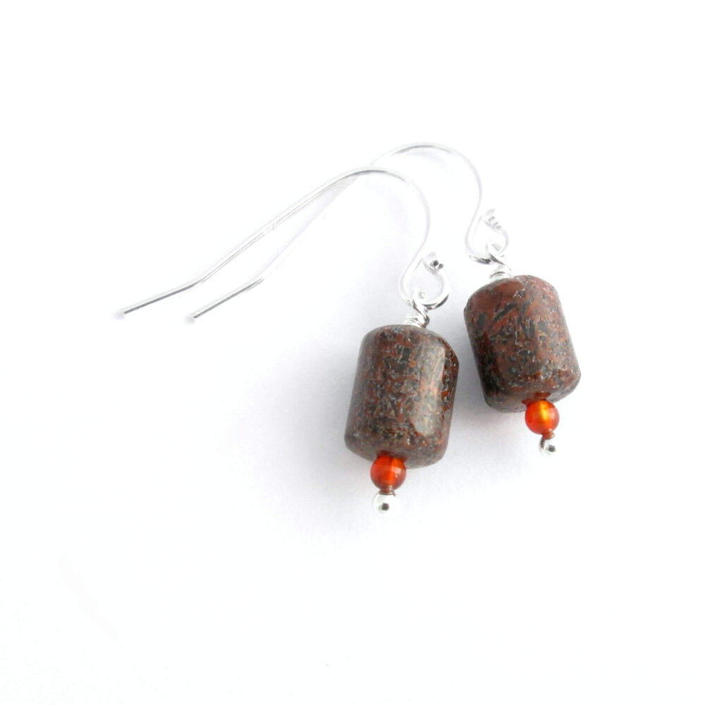 Small Dinosaur Fossil Earrings, Grey & Orange Bone
