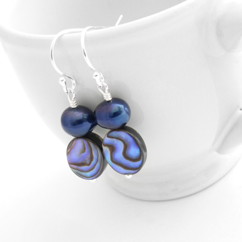 Purple Abalone Earrings, Indigo Pearls & Shells