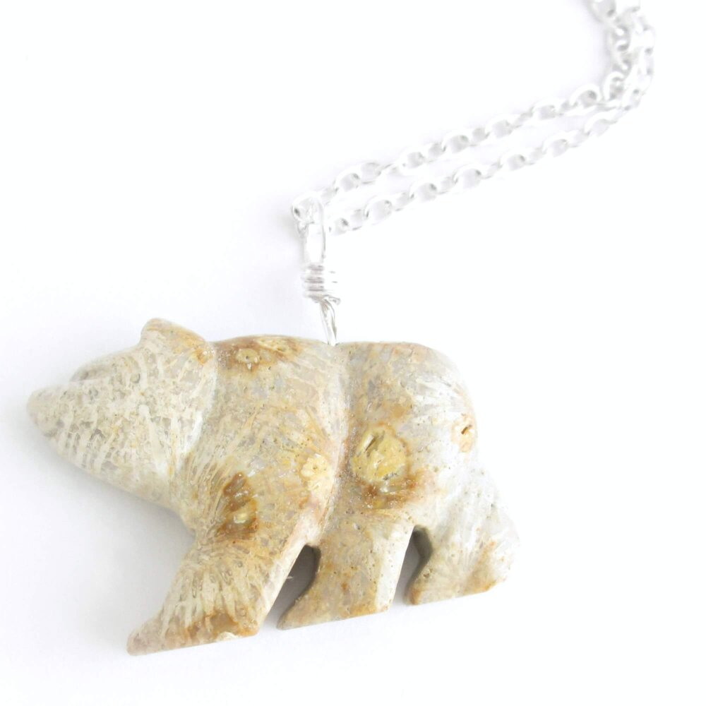 Fossilized Coral Bear Necklace