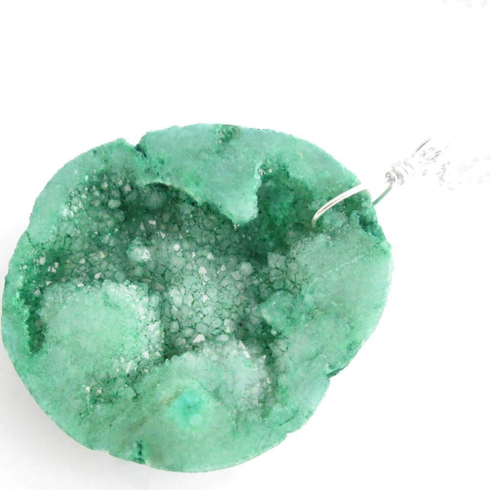 Green Geode Pendant, Raw Druzy