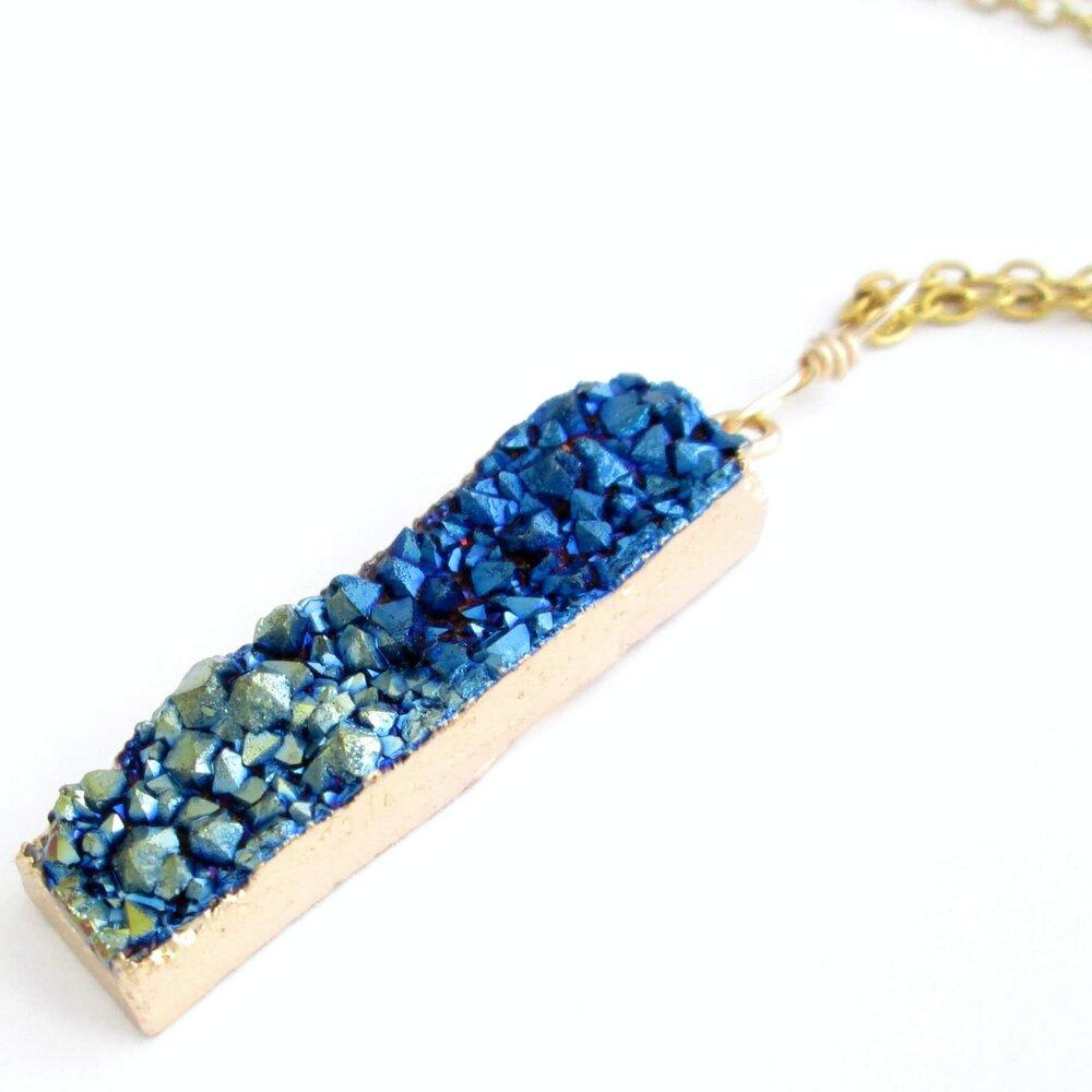 Thin Blue & Gold Titanium Pendant