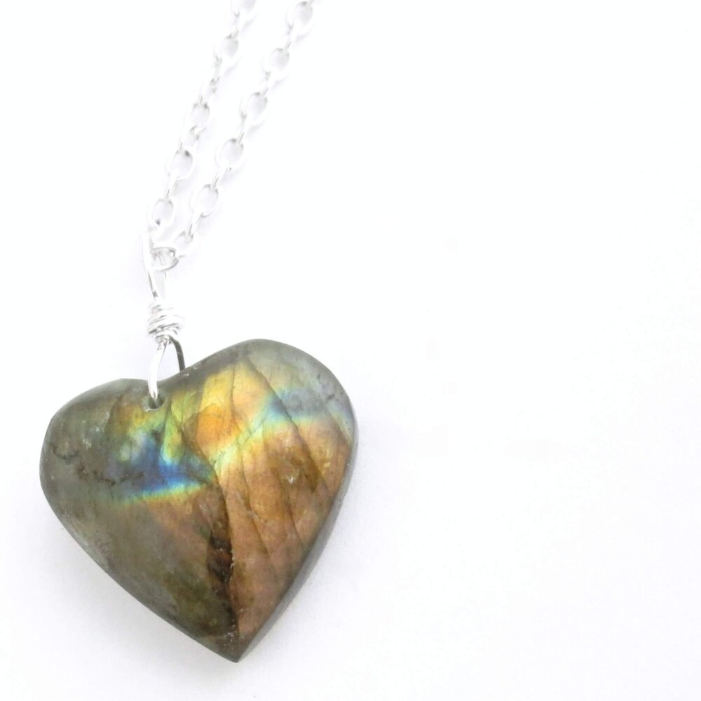 Orange Labradorite Heart Pendant