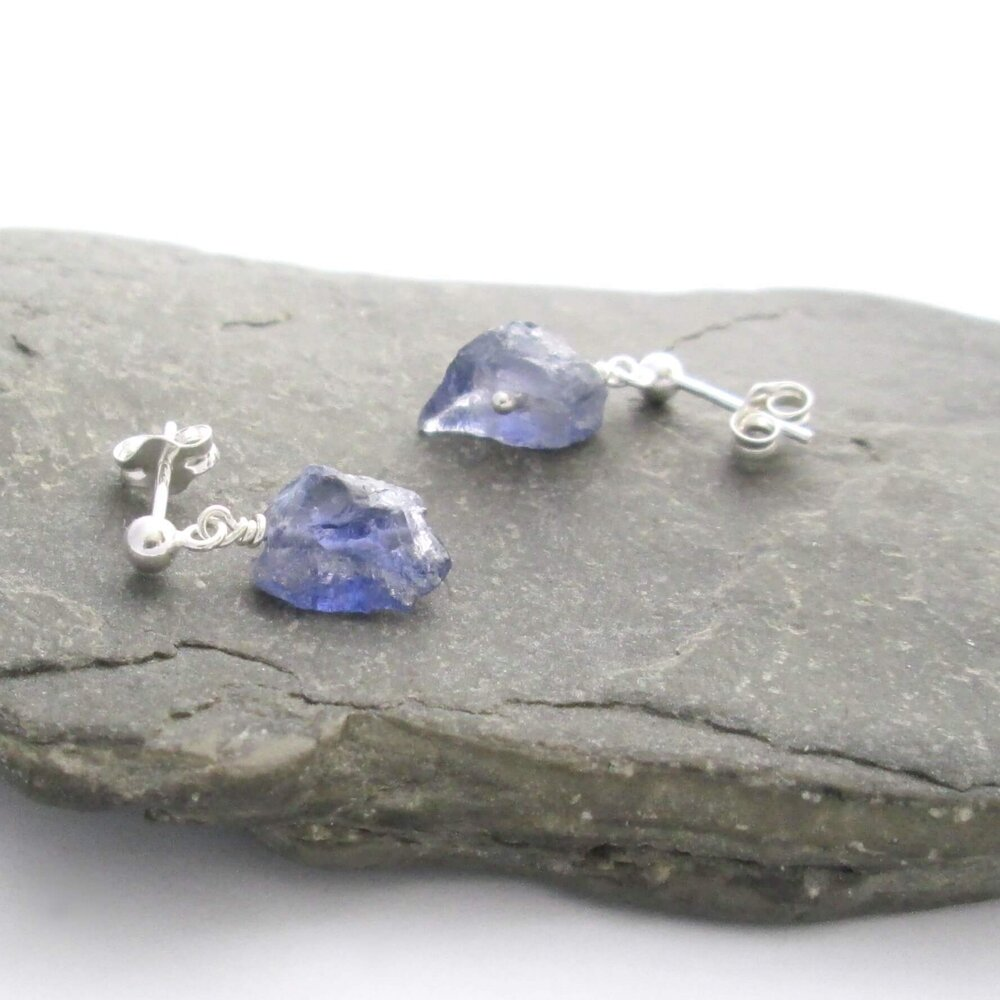 Raw Iolite Earrings