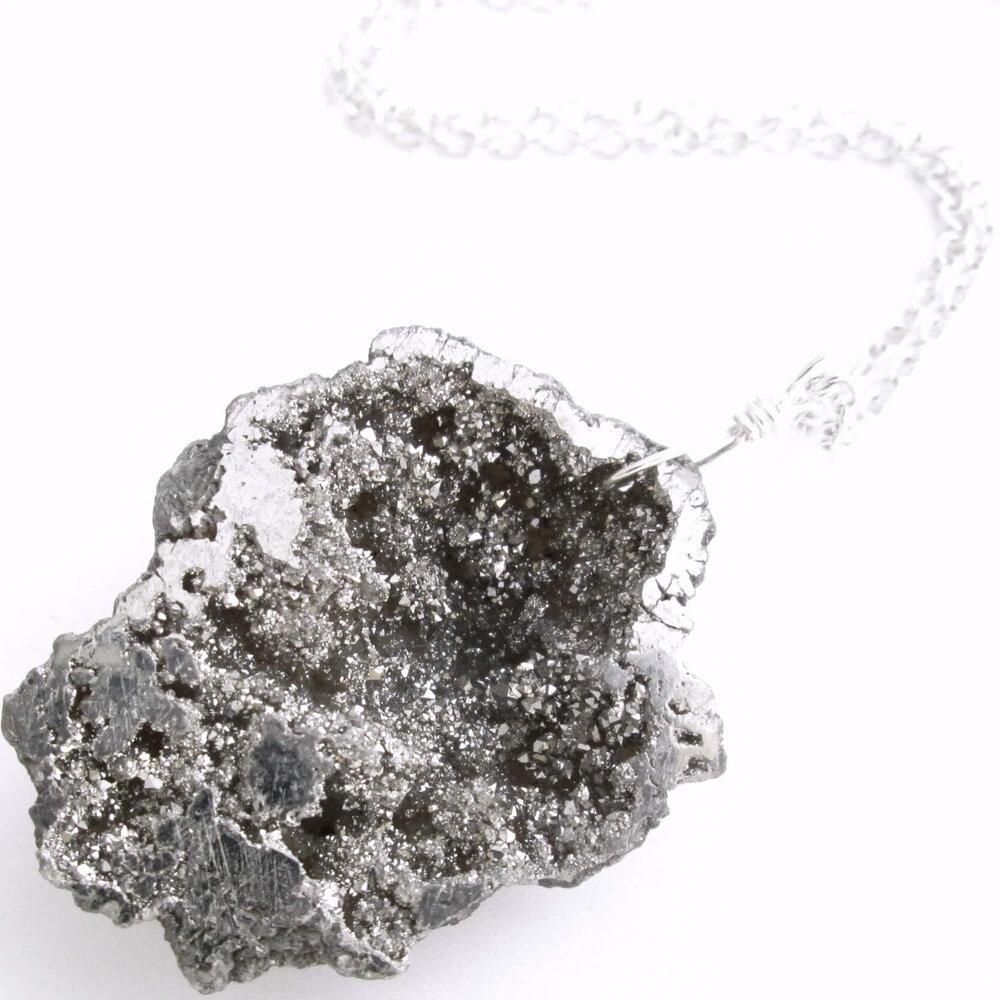 Silver Geode Pendant Necklace, Titanium