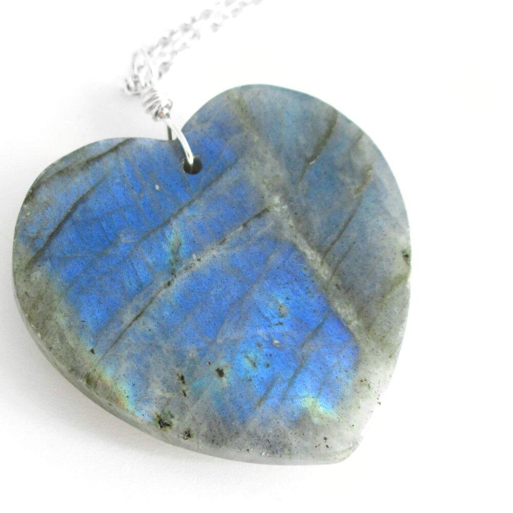 Blue Labradorite Heart Pendant