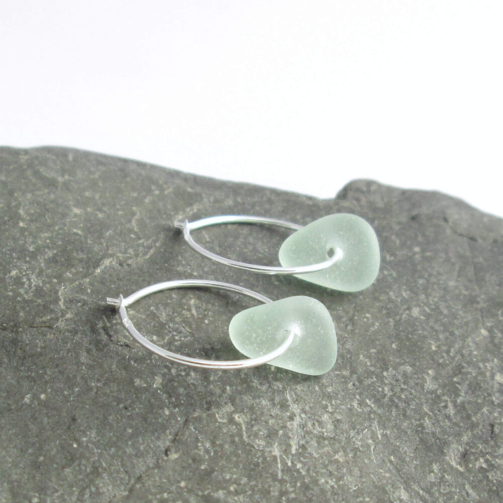 Small Sea Glass Hoop Earrings, Seafoam Green