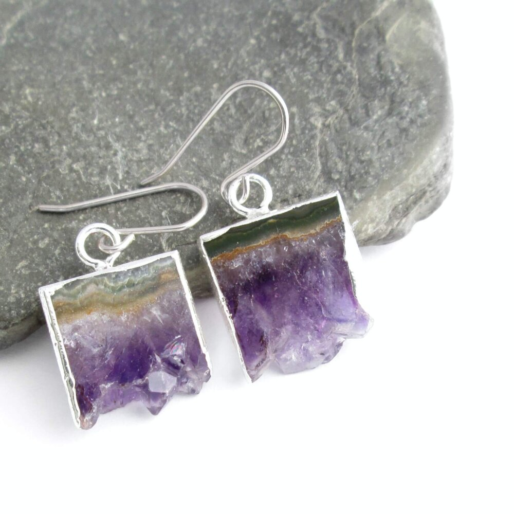 Purple Amethyst Slice Earrings, Silver