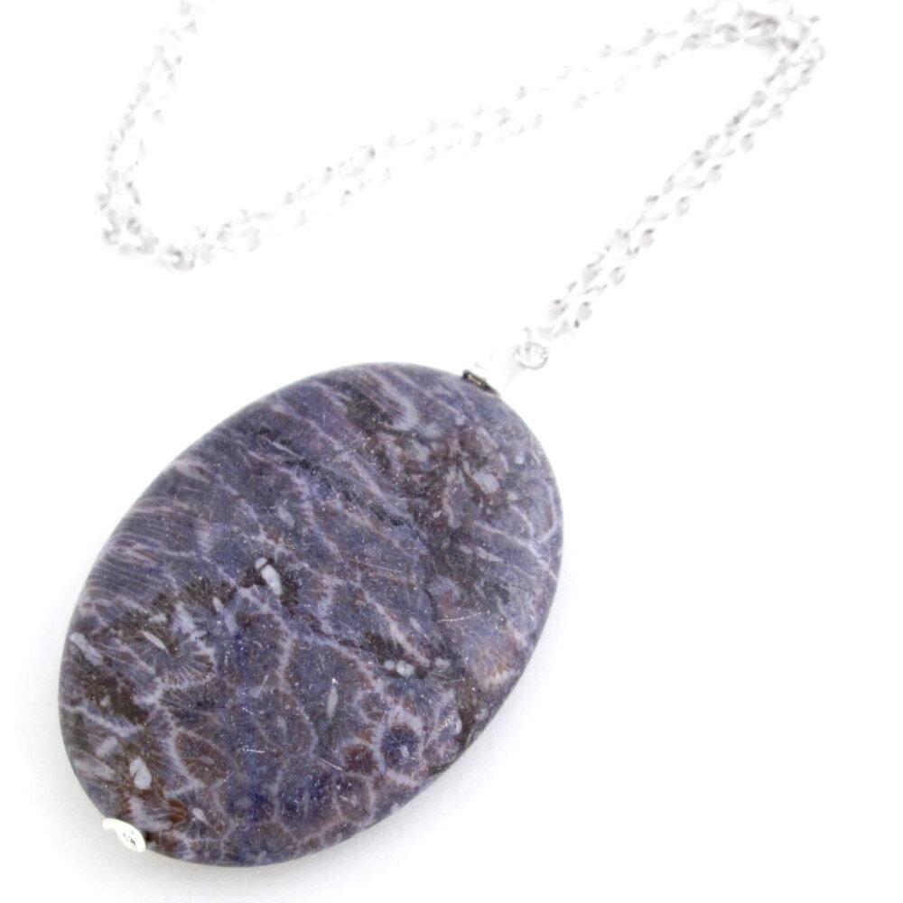 Purple Coral Fossil Pendant, Oval Stone
