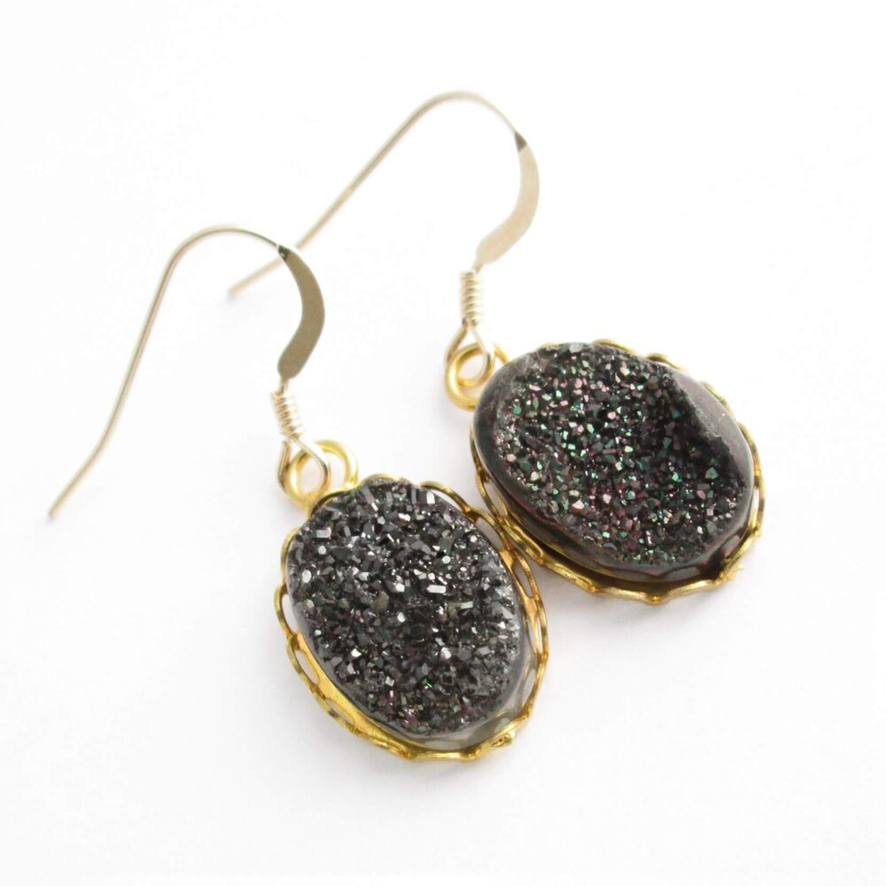Brown Titanium Druzy Earrings