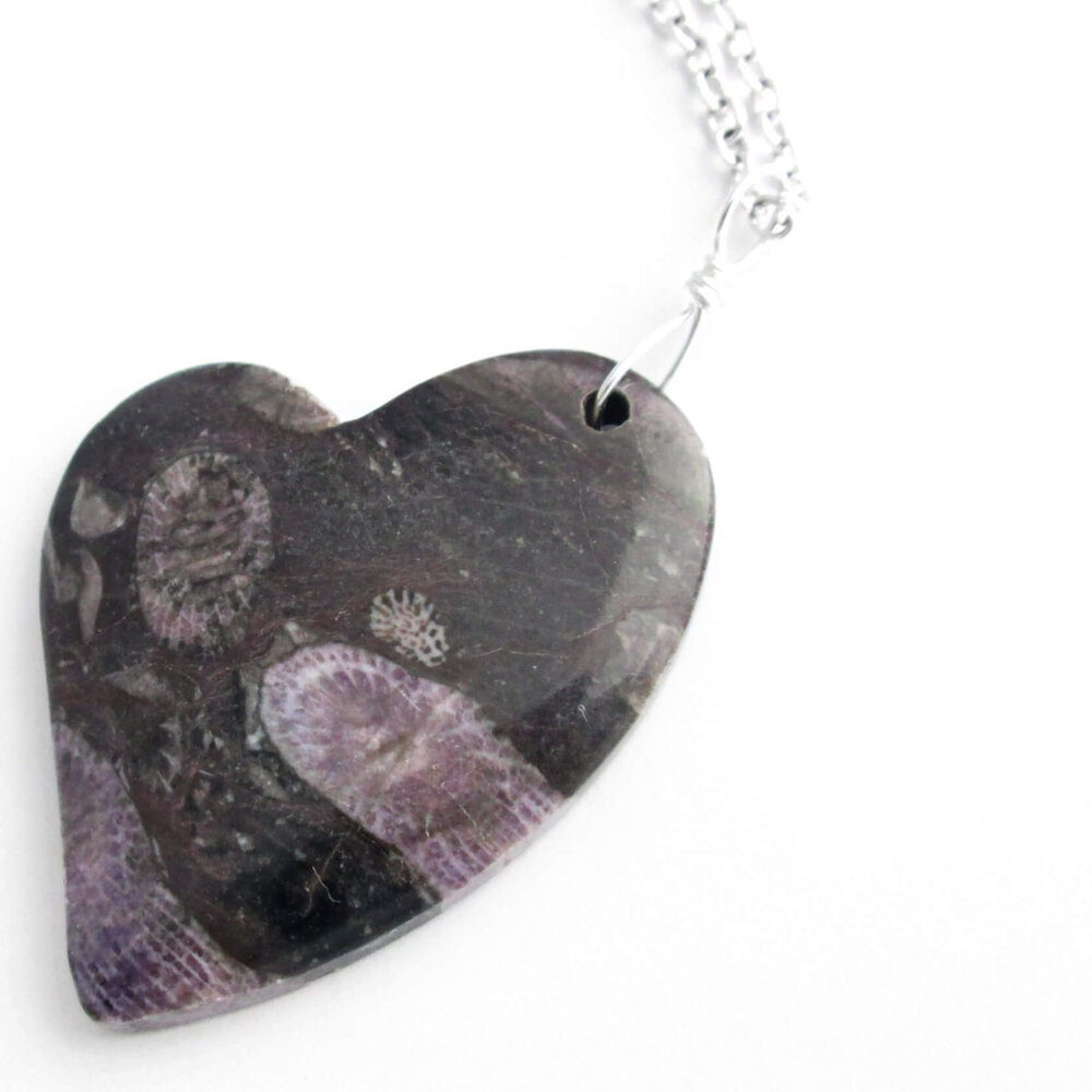 Purple Fossil Coral Heart Pendant, Black Stone