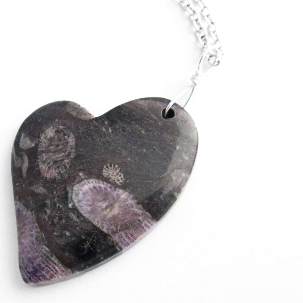 Purple Fossil Coral Heart Pendant, Black Stone