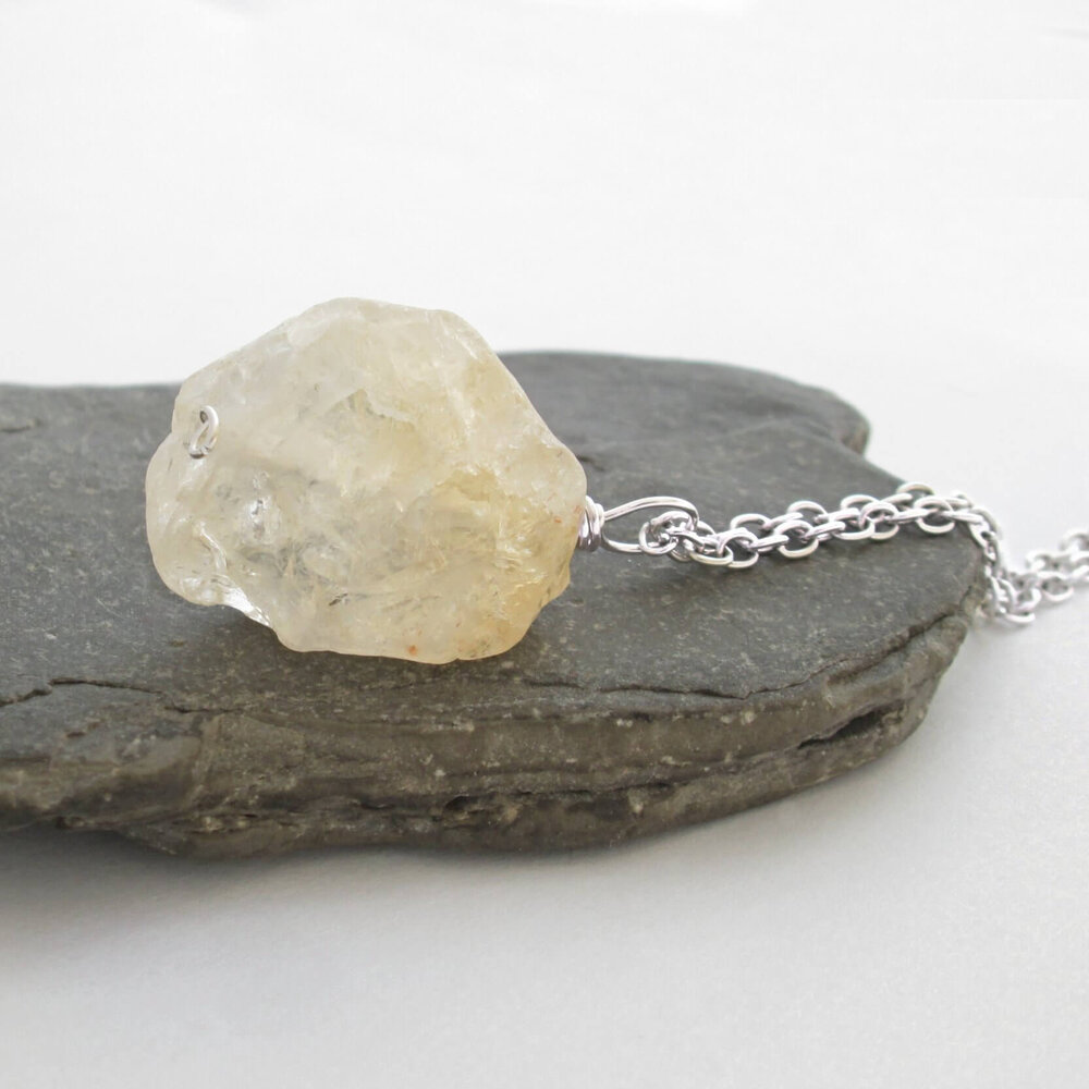 Rough Citrine Pendant Necklace, Yellow Crystal
