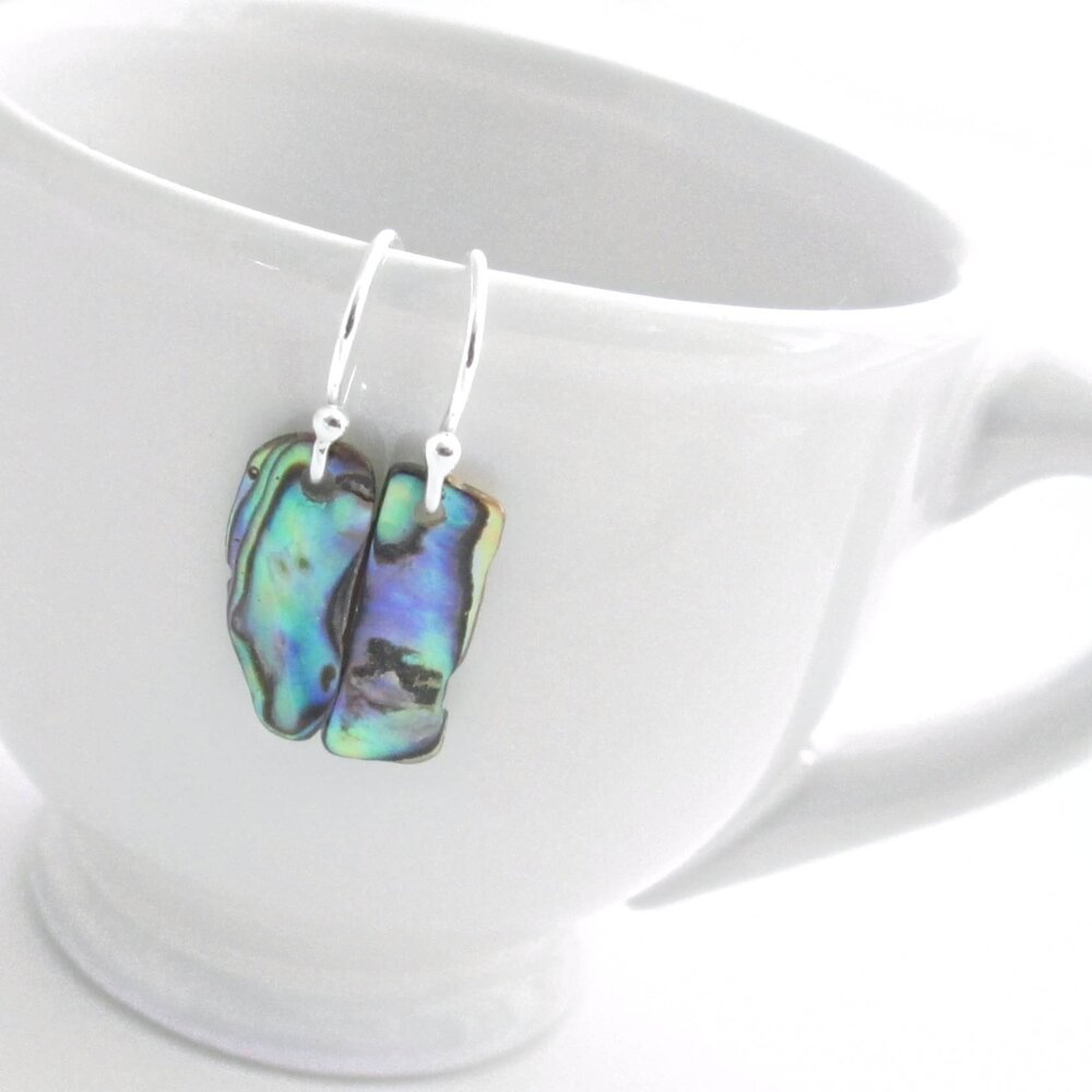 Small Paua Shell Earrings, Blue & Green