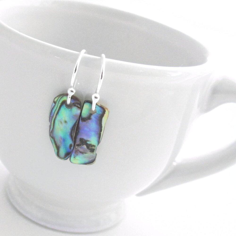 Small Paua Shell Earrings, Blue & Green