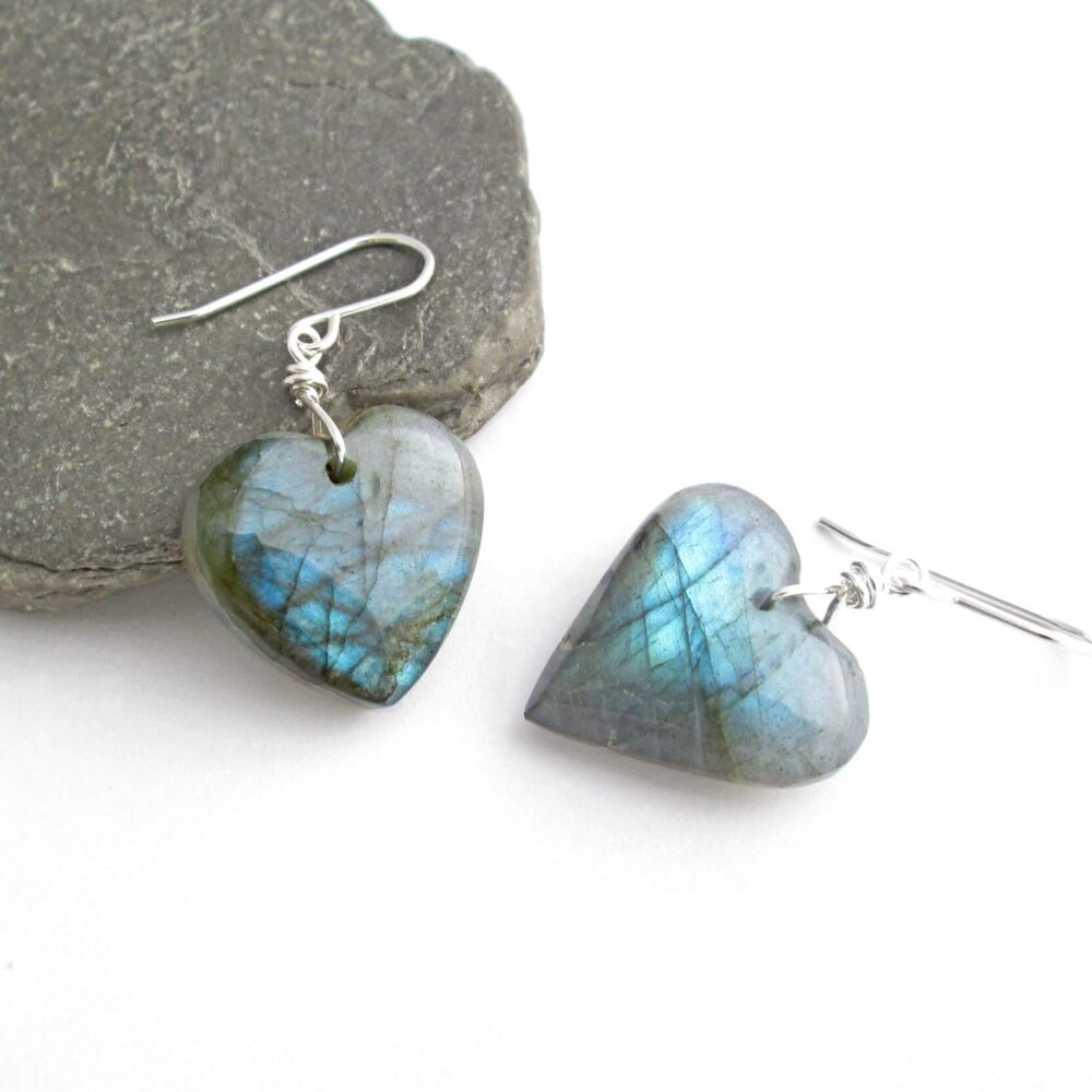 Blue Labradorite Heart Earrings