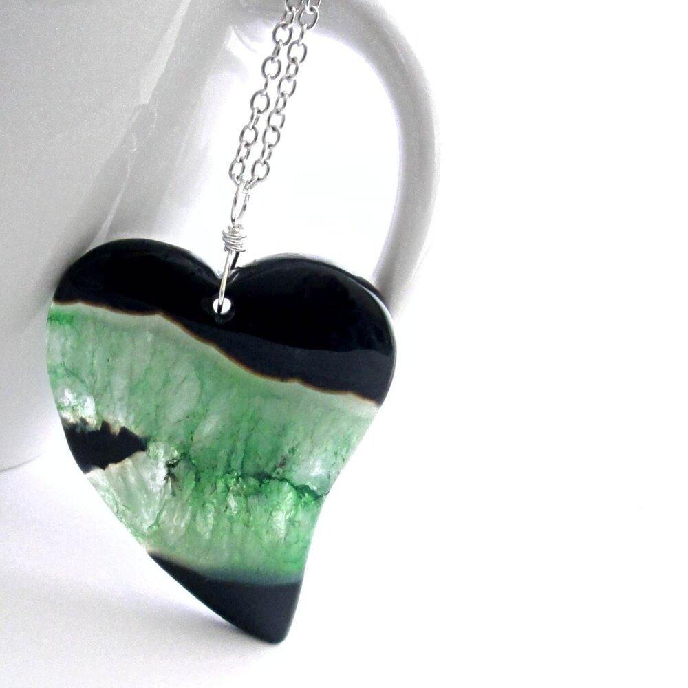 Agate Heart Pendant, Black, White, Green