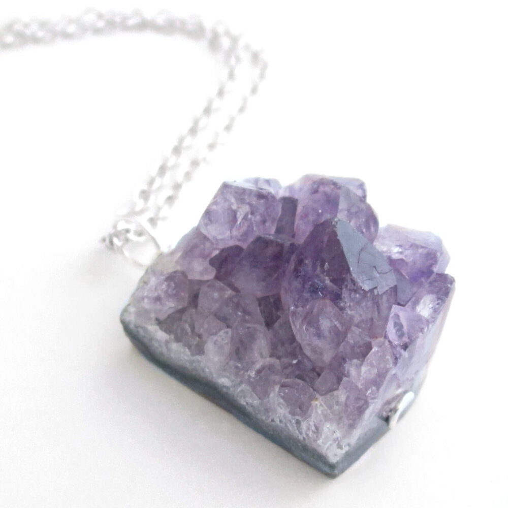 Raw Amethyst Druzy Necklace
