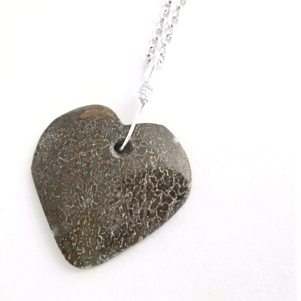 Dinosaur Fossil Heart Pendant: Real Petrified Dino Bone Jewelry