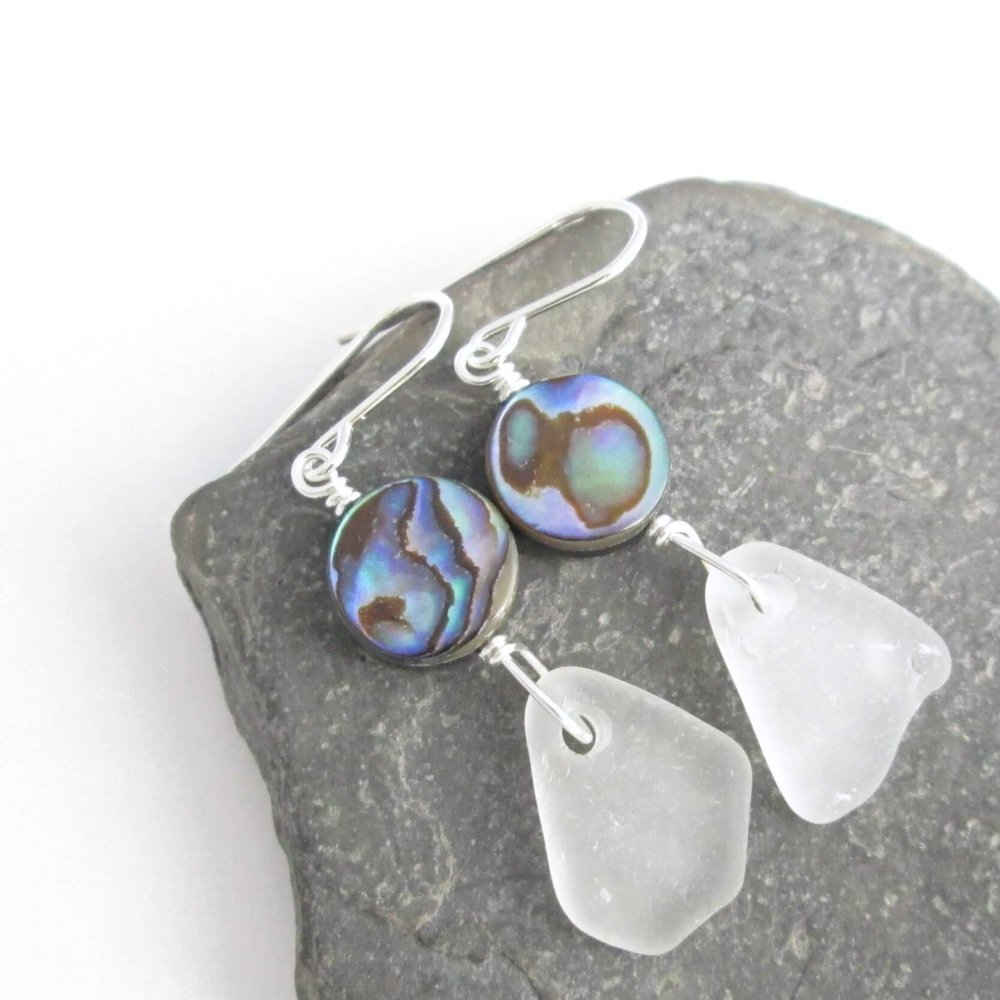 White Beach Glass Earrings, Lake Erie