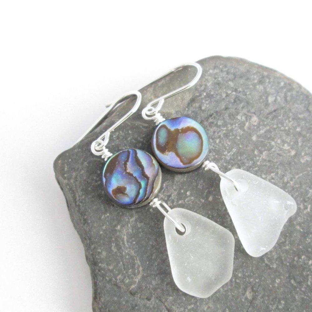 White Beach Glass Earrings, Lake Erie