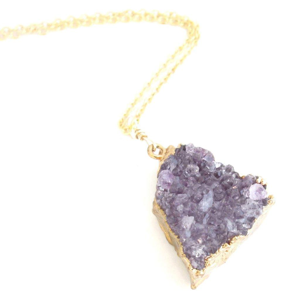 Amethyst Druzy Necklace, Gold