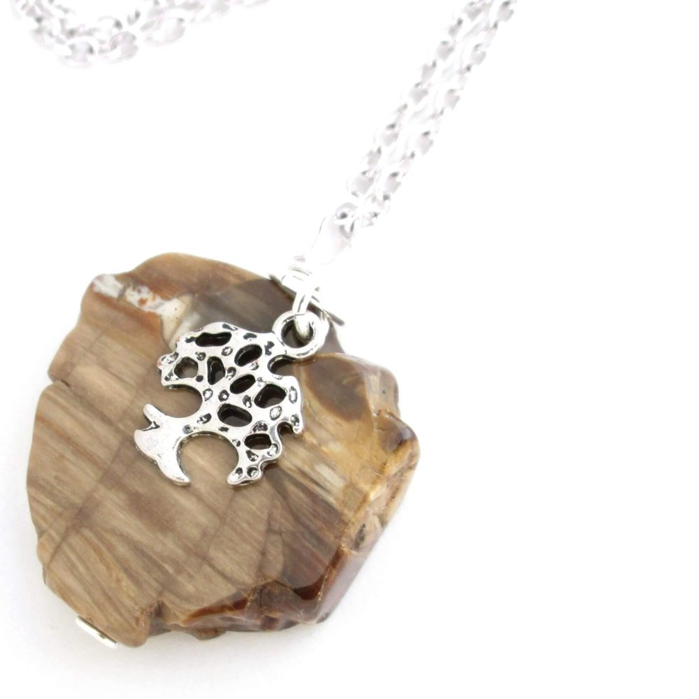 Petrified Wood Necklace, Fossilized Wood
