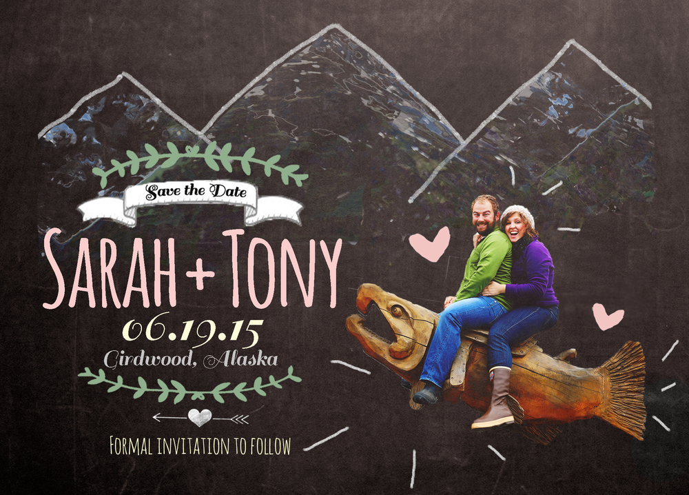 "Custom ""Save the Dates"". Shown as an example of work, customers can work with me to design their own Alaska-themed Save the Date."
