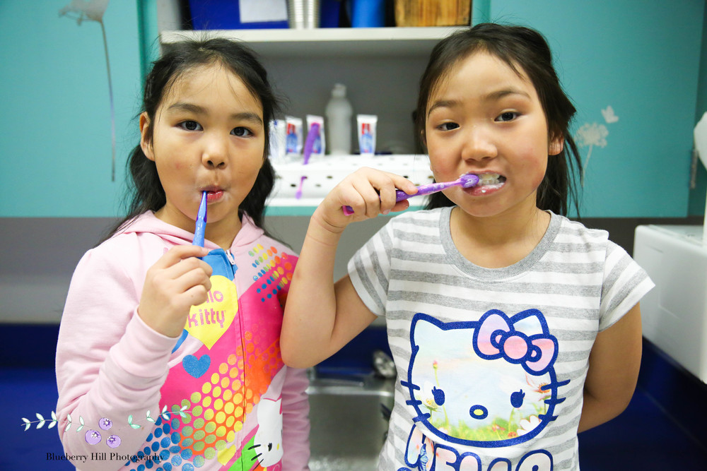 Students in Ms. Fernstrom's class brush their teeth twice a day in class.
