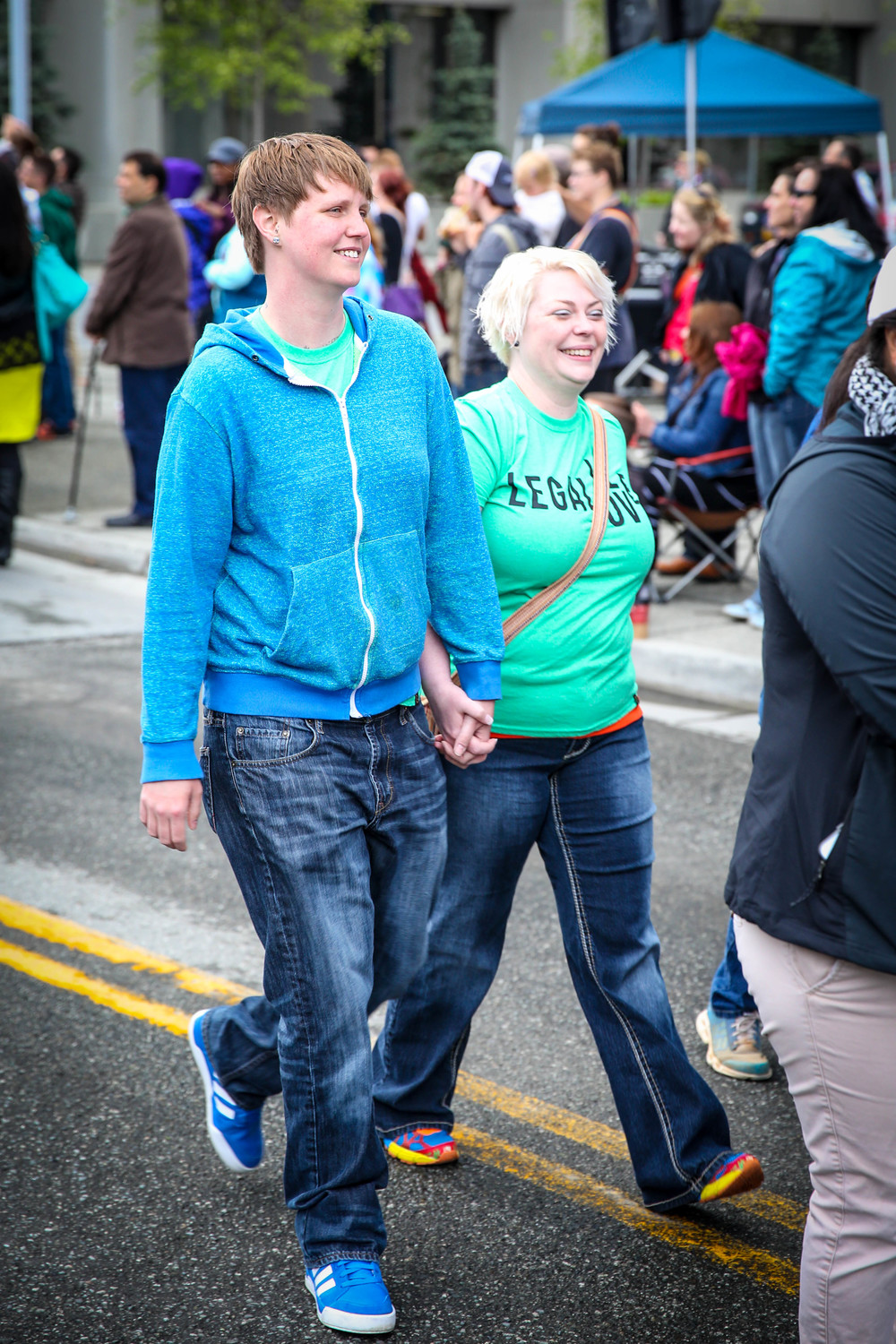 Courtney Lamb & Stephanie Pearsons marched in this year's Pride Parade. They were married in Anchorage in October, following a lawsuit with the state over marriage equality.