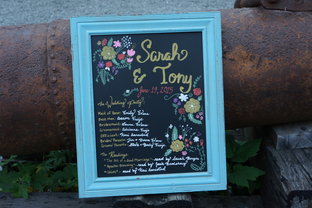 Find ways to cut costs. Rather than printing programs, I designed a chalkboard program that had all the information about the ceremony guests needed to know.