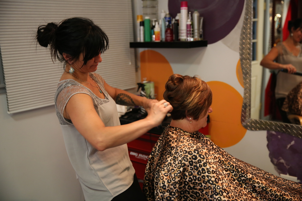 Malia at the Girdwood Styling Salon gets the Mother of the Groom ready.