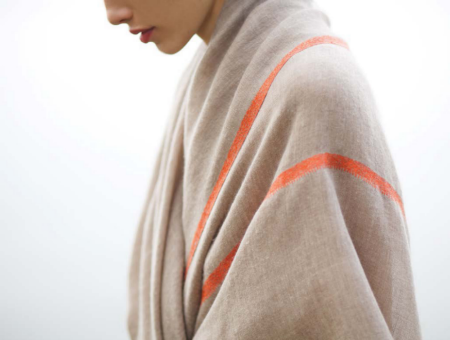 Andraab's Bale Dar shawl. Hand woven cashmere, hand embroidered detail.