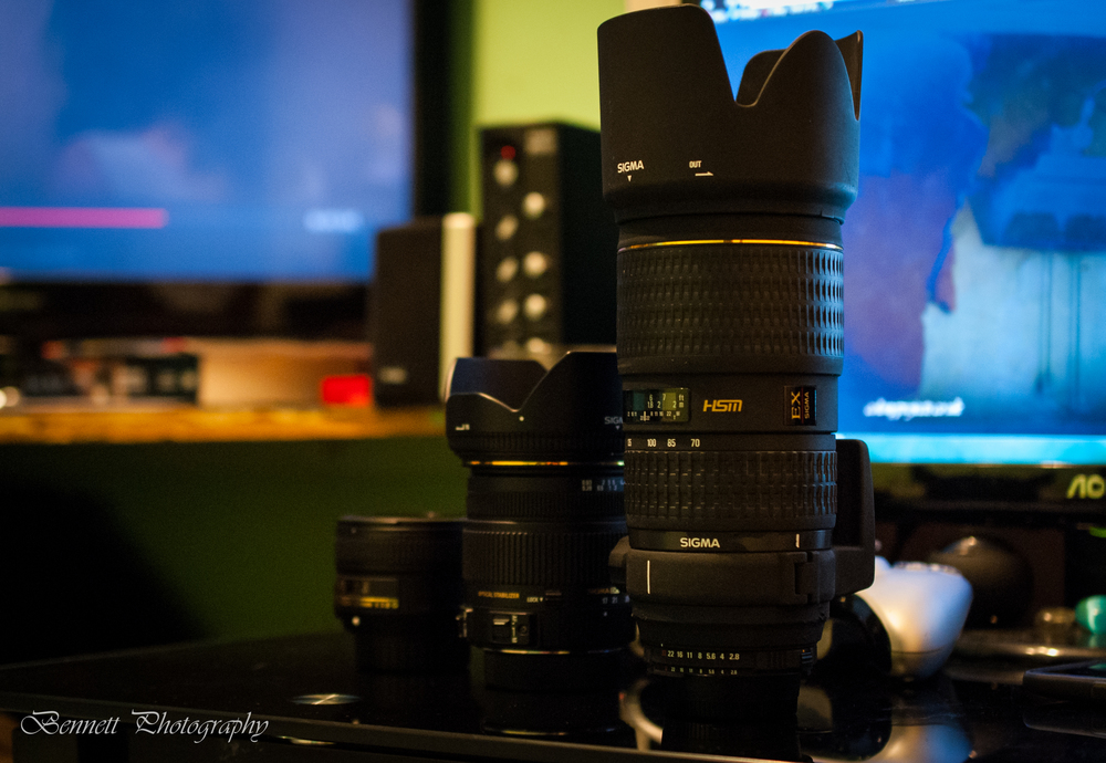 Left to Right; Nikkor 50mm f1.8G, Sigma 17-50mm f2.8 EX OS HSM, Sigma 70-200mm f2.8 EX APO HSM