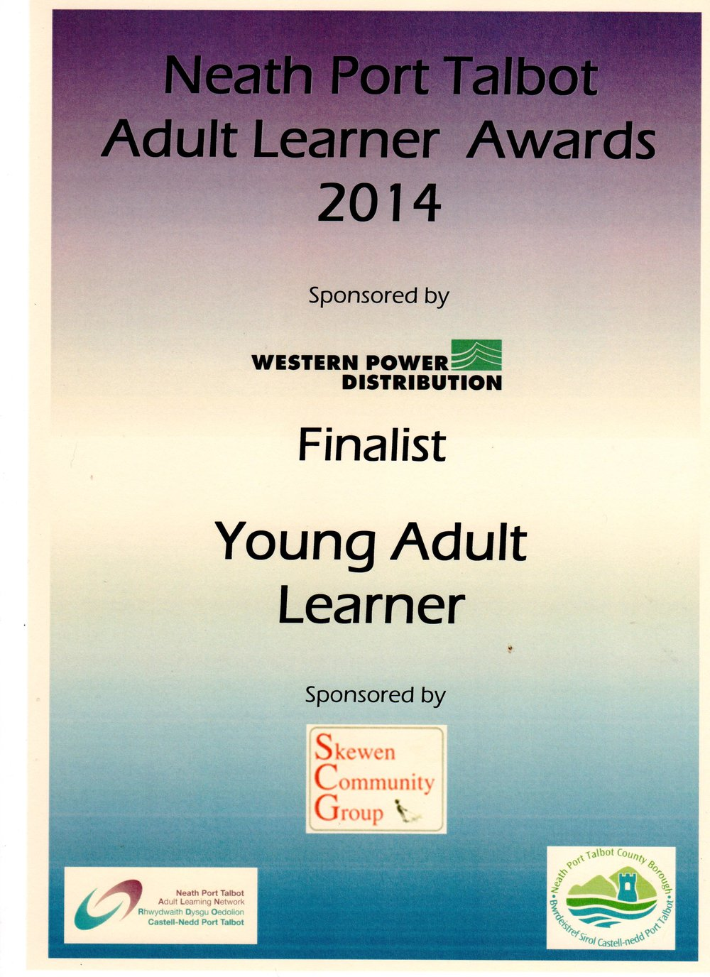 Finalist award for my efforts to start my photography career within the adult community learning group, Neath Port Talbot