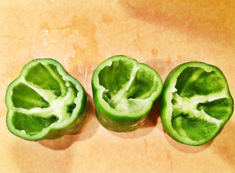 Chop the top of the bell pepper off and remove the seeds.