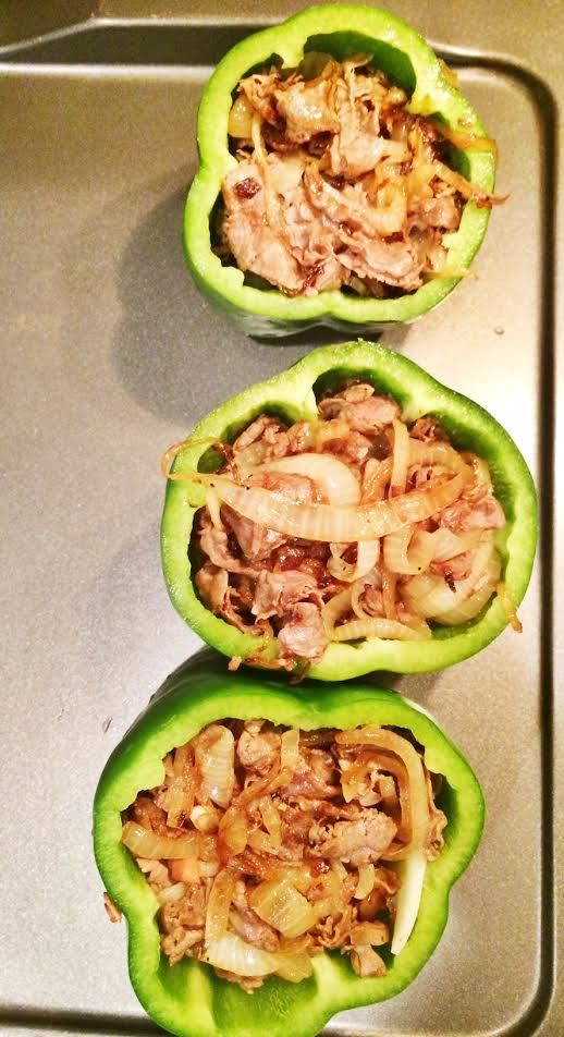 Then fill the bell pepper with the onion/roast beef mixture.