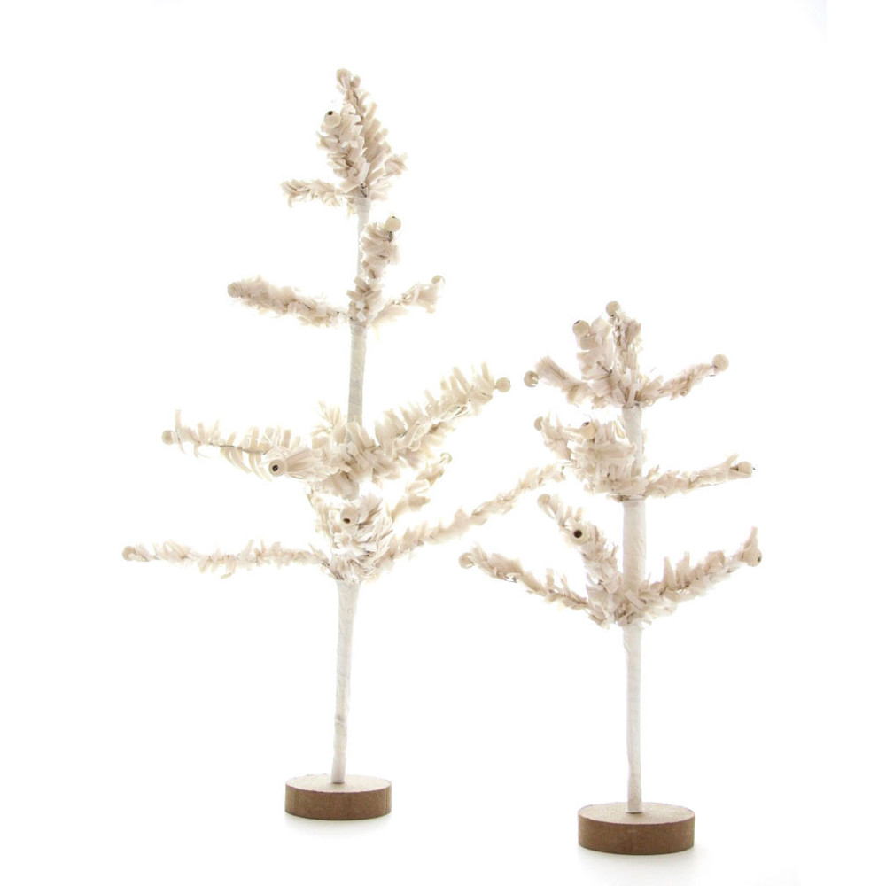 I used to have a tree very similar to these trees, except mine was not near as cute and had a tad bit of tacky sprinkled on it. These would be great to use on our side table or to add to our dining room table.