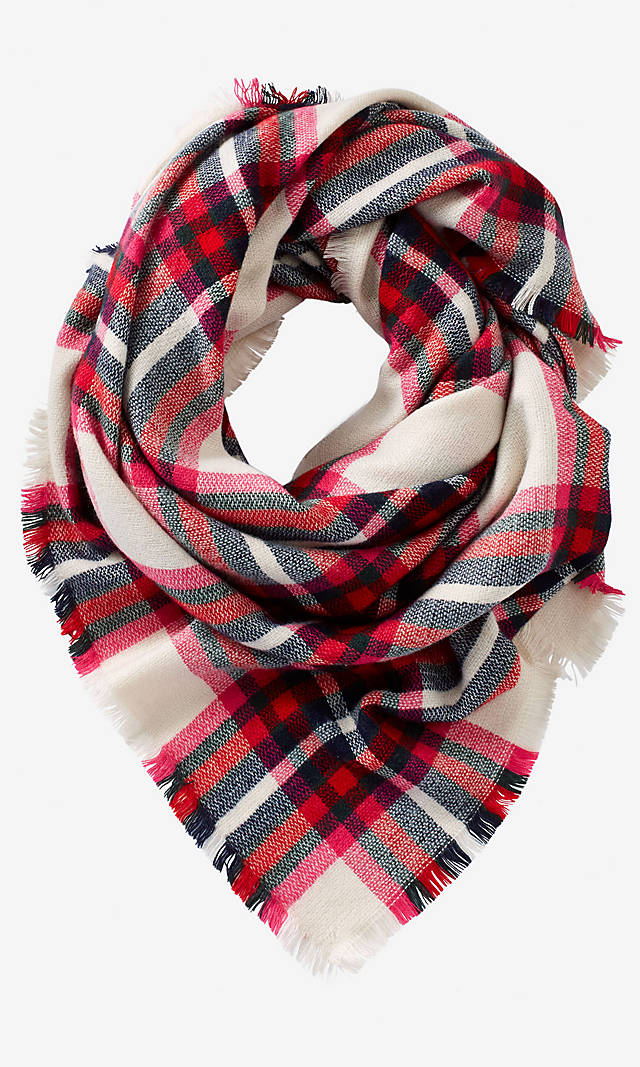 This scarf is nice if you're not a fan of too many colors within the plaid.