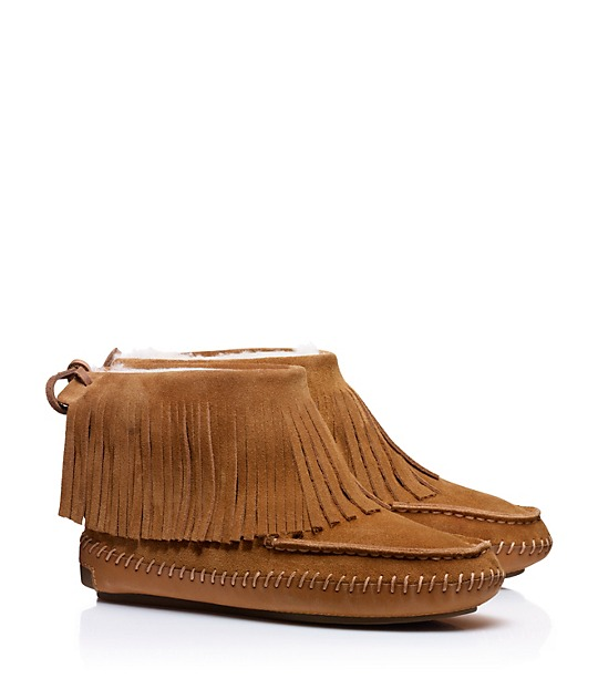 The perfect combination...slipper/moccasin! I would wear these out with jeans and leggings, and in the house, multipurpose! I love slippers that have rubber soles, it's so nice to not have to put on different shoes to take Boone out(wow, am I lazy or what?!