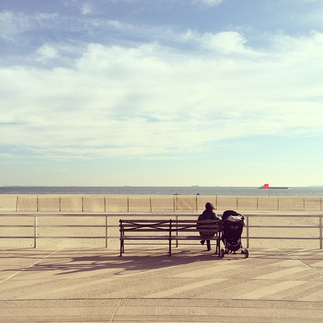 We used to come here all the time. We even wrote a song about young love, bicycles on #Brighton #Beach. Now we're old and it's cold.  Our full length album comes out Tuesday! #NewMusic