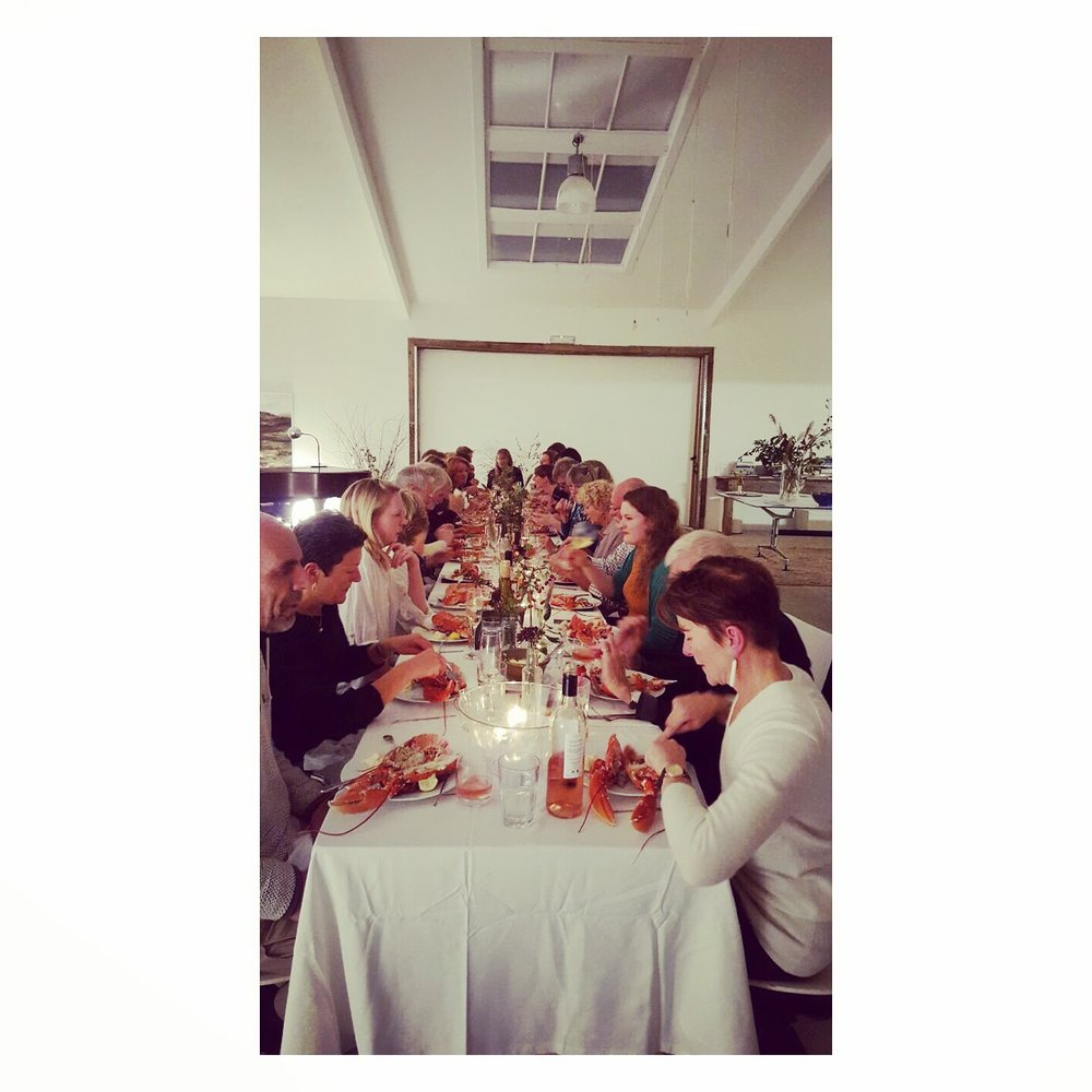 Bella Nicholas' Lobster Supper at Hay Studio for the launch of SITUATION + delicious wine from Chateau Civrac.