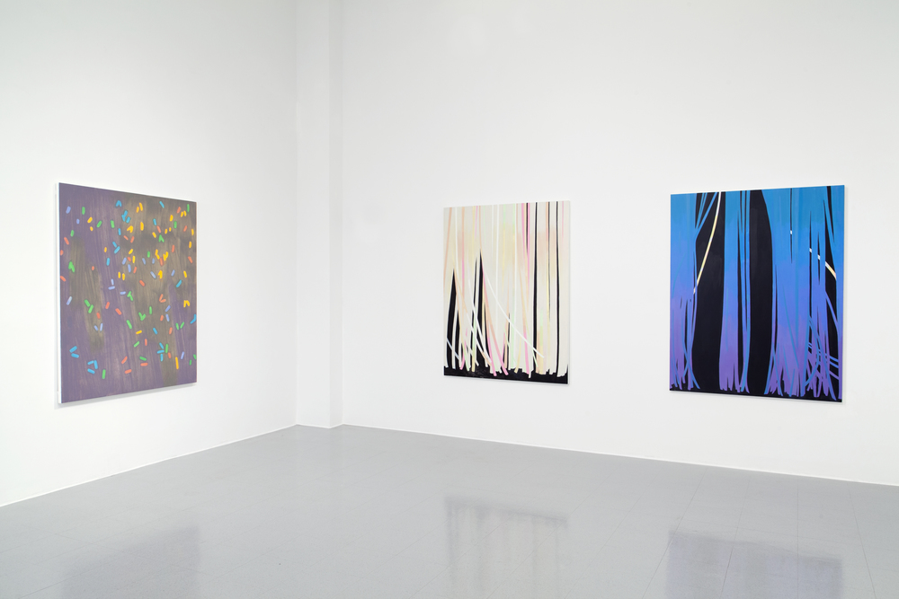 FAT MOON  MFA Thesis Exhibition II, Rutgers University Civic Square Gallery, New Brunswick, NJ February 12 - February 24, 2014  Left to right, Aliza Morell:  Touch n Glow , 2014, oil on canvas, 58 x 46 in  Pearl , 2014, oil on canvas, 60 x 46 in  Blue Monday , 2014, oil on canvas, 60 x 46 in