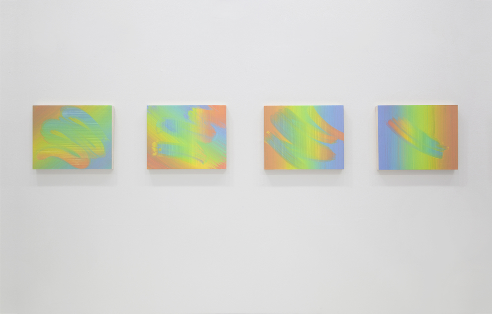 MORE OR LESS   Nancy Margolis Gallery, New York, NY February 18 - April 2, 2016  Left to right, Aliza Morell:  Sunstroke , 2015;  Ra-orama , 2015;  Drifter , 2015;  Slow Solar , 2015.